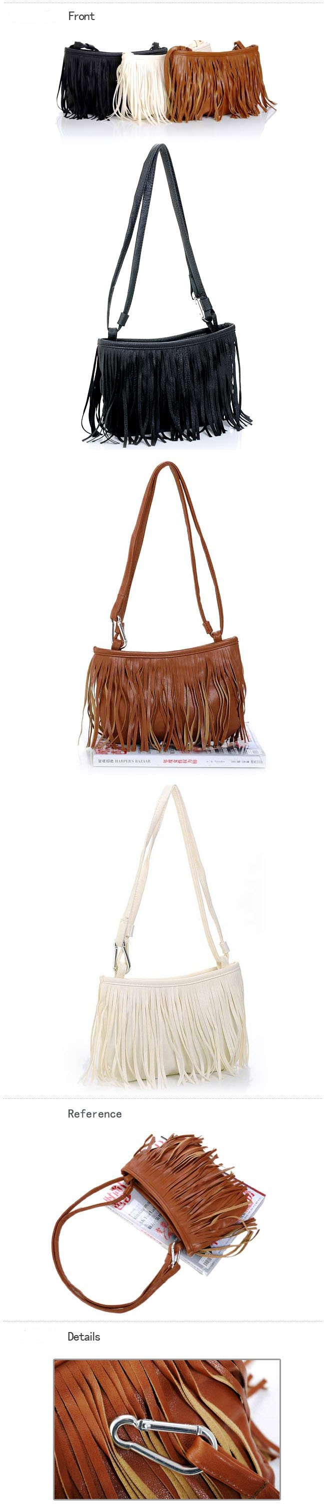 2016 Cute Fashion Womens Vintage Faux Suede Fringe Tassle PU Leather Satchel Shoulder Handbag Crossbody Bag For Women Y1
