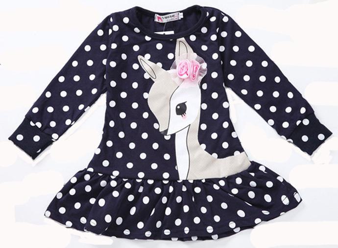 kids dresses for girls Long Sleeve Adorable girls children clothing Polka Dot kids clothes dress girls simple vestidos infantis(China (Mainland))