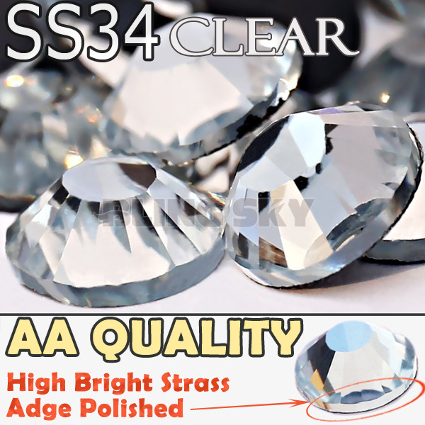 AA Quality SS34 7.0-7.2mm,144pcs/Bag Clear Crystal DMC HotFix FlatBack Rhinestones strass for DIY Heat transfer Hot Fix stones