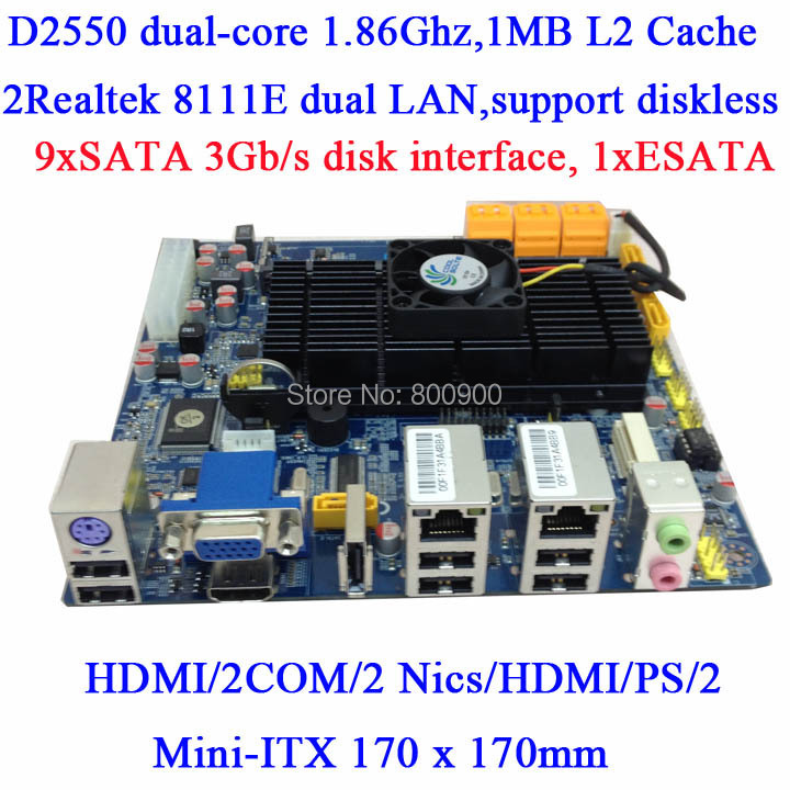 ATOM D2550 dual core motherboard NVR NAS storage server 10SATA mini itx motherboard 2 COM 2 LAN HDMI(China (Mainland))