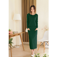 2014 new spring and autumn female round neck floor-length cashmere sweater  one-piece dress casual solid sheath women dress(China (Mainland))
