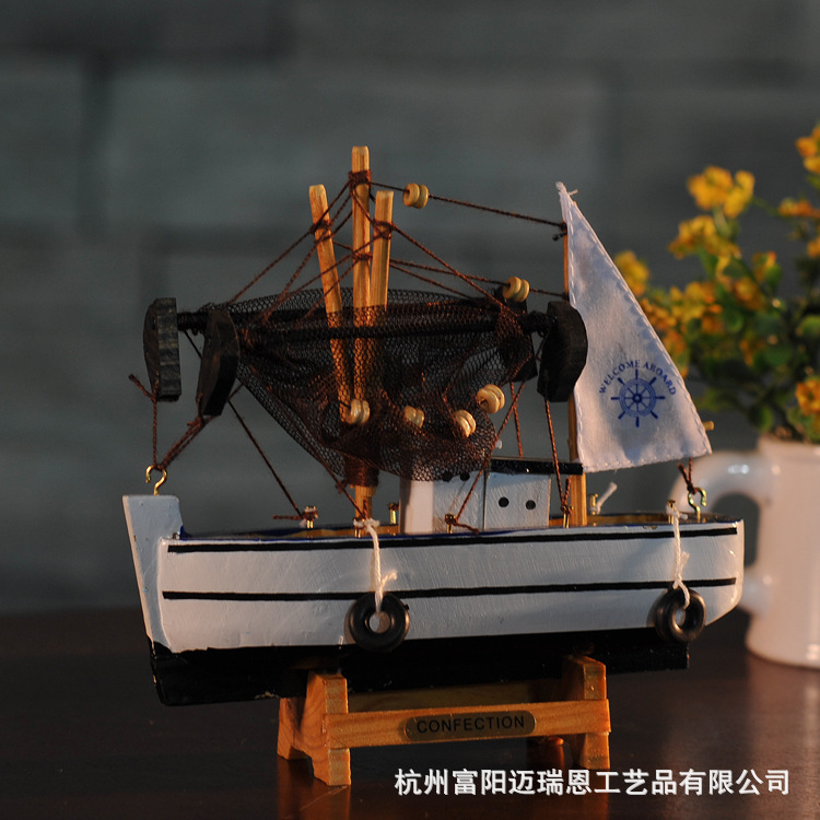 Free Shipping New <font><b>Home</b></font> Furnishing ZAKKA <font><b>Home</b></font> <font><b>Decoration</b></font> Fishing Ship Model As <font><b>Decoration</b></font>