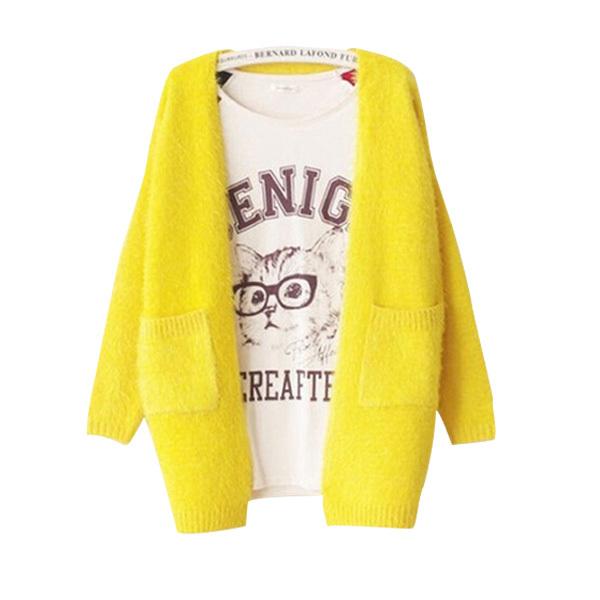 Cardigan Feminino 2015 Fall Winter Sweater Casual Knitted Mohair Cardigans Women Long Warm Sweaters Coat Pockets Knitwear B147(China (Mainland))