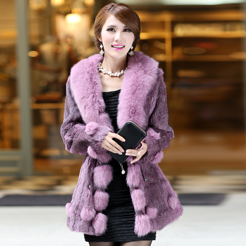 2013 Womens Genuine Rabbit Fur Coat with Fox Fur Collar Female Winter Slim Outerwear Plus Size VK1025Одежда и ак�е��уары<br><br><br>Aliexpress