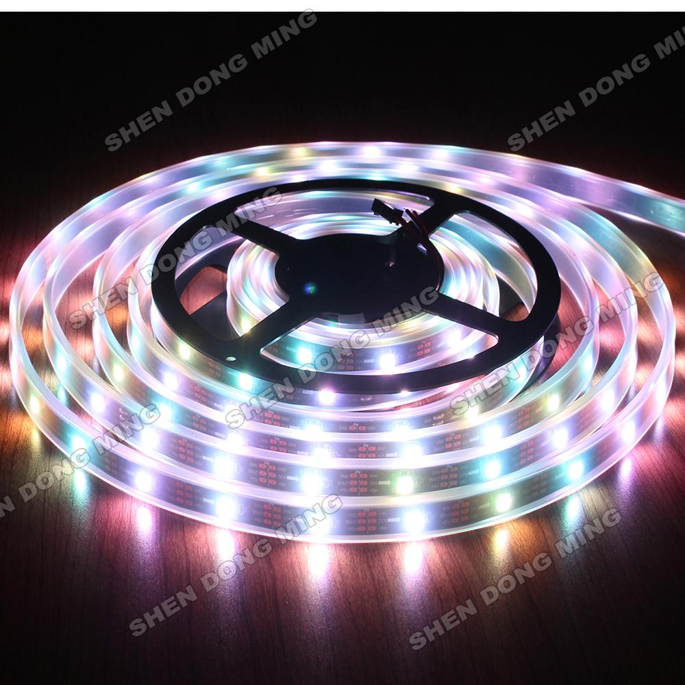 15m/lot Waterproof Ip67 Black PCB flexible led Changeable dream color RGB 5050 digital LED Strip pixel 32led/M 32ic/M Ws2801(China (Mainland))
