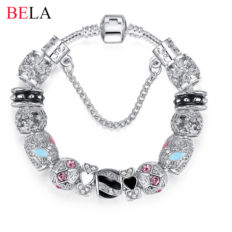 Bracelets For Women Silver Crystal Beads Bracelet Snake Chain Charms Bracelets Fit Original Bracelet Bangle Authentic