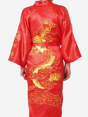 красный традиционных китайских мужчин пижамы атласная
