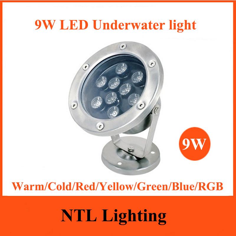 New 9W LED Underwater light IP68 waterproof lamp lights AC/DC 12V 24V for Fountain Swimming Pool Pond Fish Tank Aquarium Park(China (Mainland))