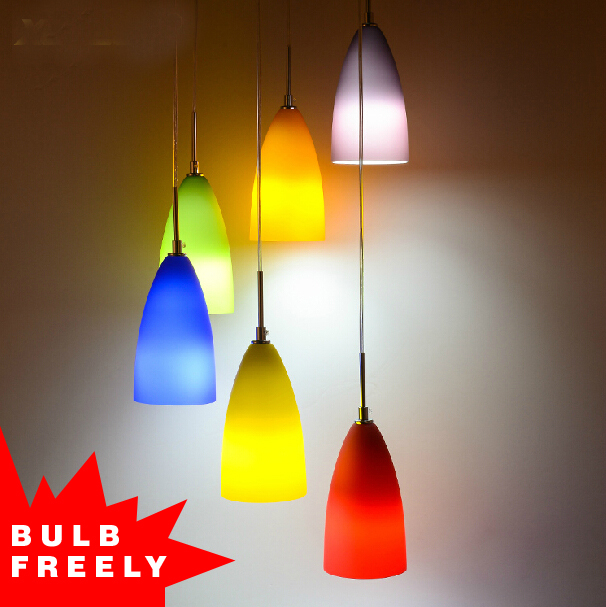 Bulb Free 3 Heads 6 Colored Pendant Light Art Deco Rainbow