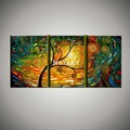 Colorful Abstract modern 3 piece canvas wall art decorated oil hand tree painting on canvas for