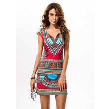 2017 Sexy Women Summer Raditional African Print V-Neck Dress Bodycon Casual Dresses Short Sleeve Vestidos Dashiki Beach Dress(China (Mainland))