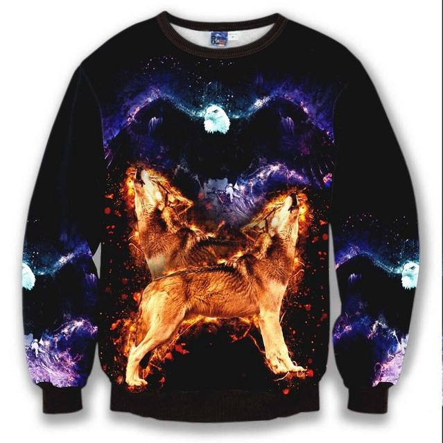 Новый бренд 3D толстовки мужчины толстовка мода повседневная одежда орел волк печати ...