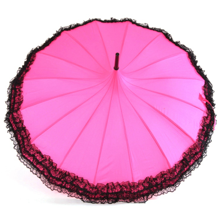 Windproof Long Handle Ribs Sunny Hot Rainy 16 Us372 And Princess Sale Umbrella Women Rain Lace Parasol 08vSzq