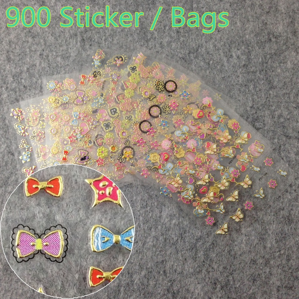 900 Sticker/Lot Hot Stamping 3D Nail Art Stickers Decals Tips Decoration Tool + (NR - WS24) Blingway Care products Co., Ltd. store