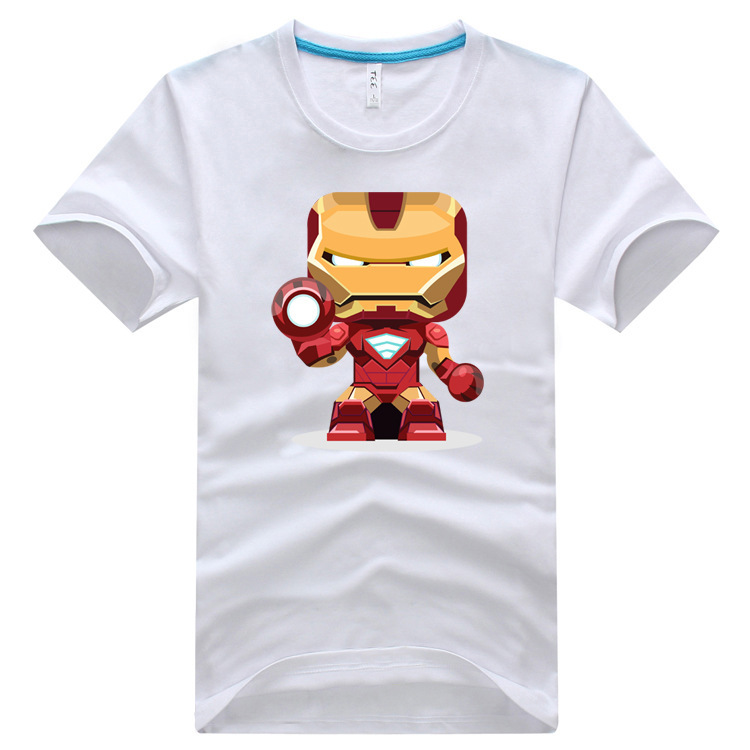 2015 New Fashion Iron Men print mens Clothes short Sleeve Slim Fit T Shirt Men 100% Cotton T-Shirt summer 3XL Casual T Shirts(China (Mainland))