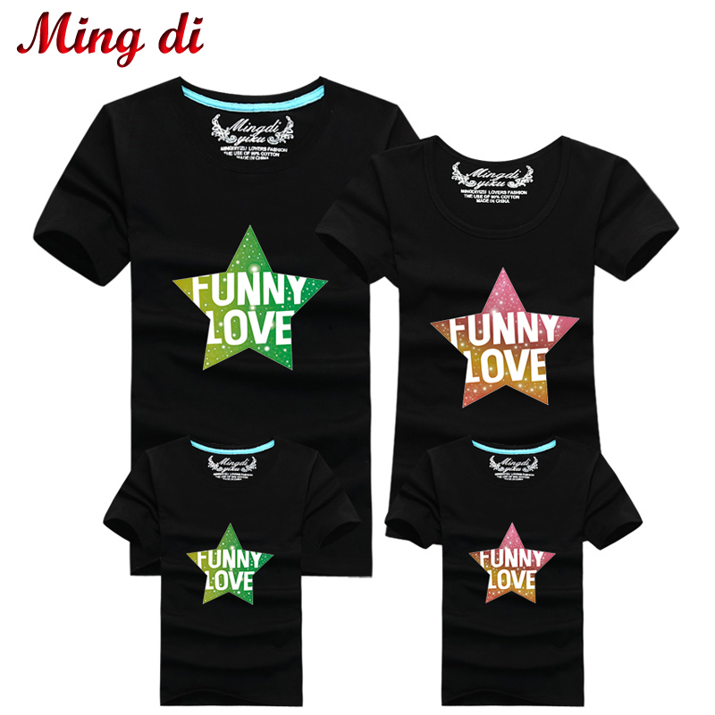 Ming Di New 2016 Summer Matching Family Clothes Pentagram Funny Love Fashion Brand Cotton T shirts Boys Clothing More Color(China (Mainland))