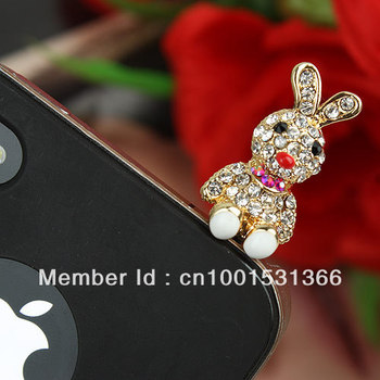 LM-P010 Wholesale Fashion style Shiny crystal Headset ear cap Anti-dust Plug dust 35mm*14mm  dust plug Free Shipping