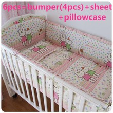 Promotion! 6PCS Price Baby Bed Crib Sets,Convenient for Mother to Take Care of Lovely Baby Bed (bumpers+sheet+pillow cover)