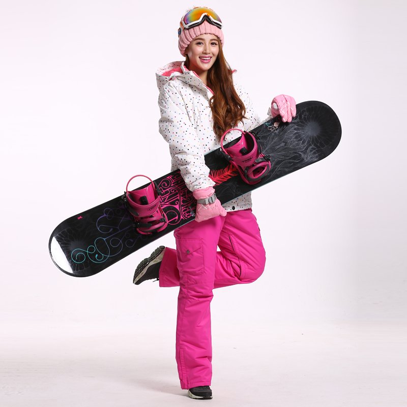 Women Ski Jacket Round Dot Ski Jacket Women Snowboard Jacket White Snow Jacket Waterproof Windproof Warm Thicken Clothes(China (Mainland))