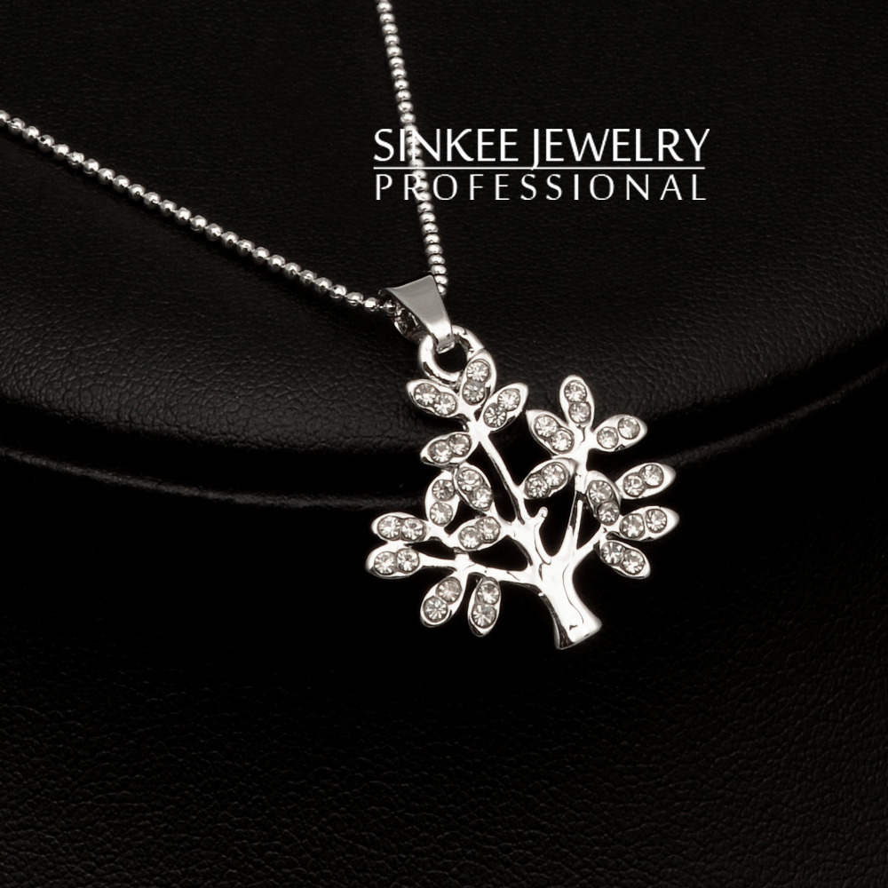 Women Charm Rhinestone Wishing Tree Necklace 2016 Silver Plated Necklaces & Pendants Xl469(China (Mainland))