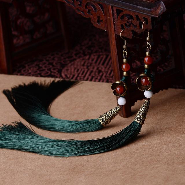 Преувеличивать этнические старинные серьги длинной бахромой серьги зеленый, Ручной китайский ветер агат ювелирные изделия кисточкой серьги для женщин