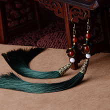 Exaggerate  Ethnic vintage earrings long fringe earrings green,Handmade Chinese wind agate Jewelry tassel earrings for women(China (Mainland))