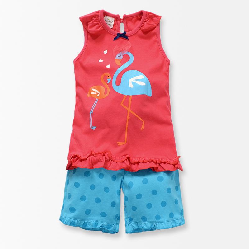 Swan Grils Clothing Sets Summer Animal Shirt Dot Pants Suit toddler girl clothing tracksuit conjunto menina children's clothing(China (Mainland))