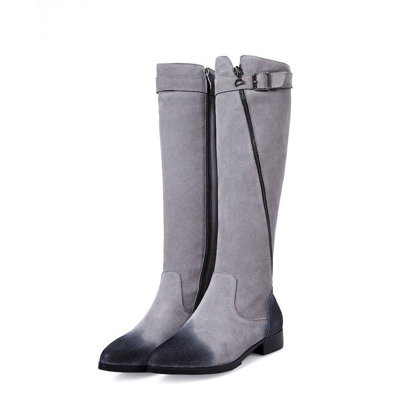 Остроконечные toe пряжка дизайн мода серый черный неподдельной кожи плоские ботинки женщин зима теплая женщин мотоцикла сапоги колено высокие сапоги