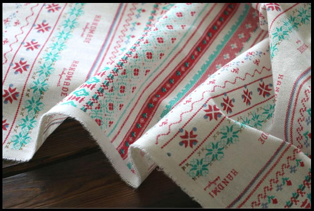 new fabric europe vintage printing Christmas natural linen ...