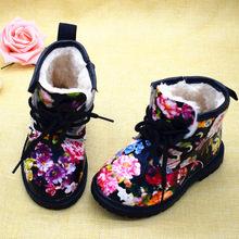 2019 בנות מגפי סתיו חורף עור מפוצל עמיד למים ילד מגפי נעלי Zip רומא פרח ילדה קטנה מרטין מגפי אופנה תינוק מגפיים(China)