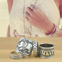 4PCS Vintage Punk Ring Set Anillo Unique Carved Antique Silver Elephant Anel Totem Leaf Lucky Rings for Women Boho Beach Jewelry(China (Mainland))