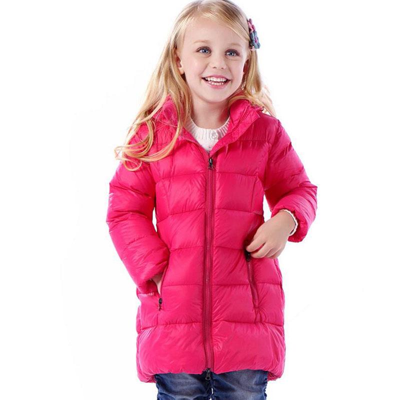 Children Winter Down Jacket Girls Warm Outerwear Coats 80% White Duck Down Girls 2-8 Years Baby Waterproof Kids Ski Long Coat(China (Mainland))