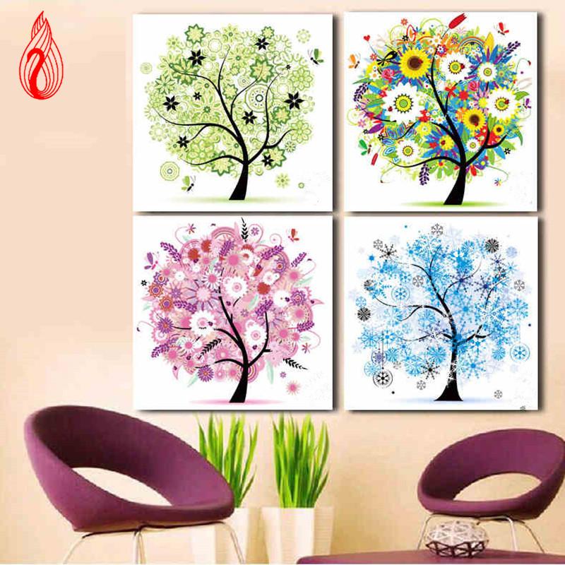 YGS-134 DIY Diamonds Embroidery Spring Summer Autumn Winter Four Seasons Tree Round Diamond Painting Cross Stitch Diamond Mosaic(China (Mainland))