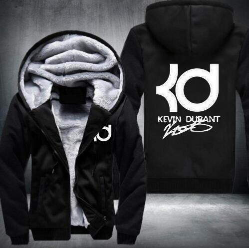 Kevin Durant Hoodies men hiphop fashion clothing casual letter KD Tops Winter Thicken Zipper Sweatshirts Plus Size(China (Mainland))