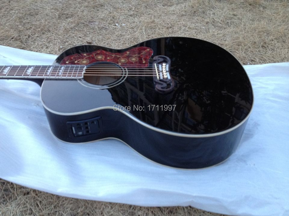 free shipping 43 inches black color jumbo acoustic electric guitar with fishman eq on sale(China (Mainland))