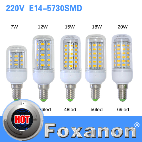 E14 5730 Led Lamps 220V 24 36 48 56 69leds LED Lights Corn Led Bulb Christmas lampada led Chandelier Candle Lighting 1PCS/Lot(China (Mainland))