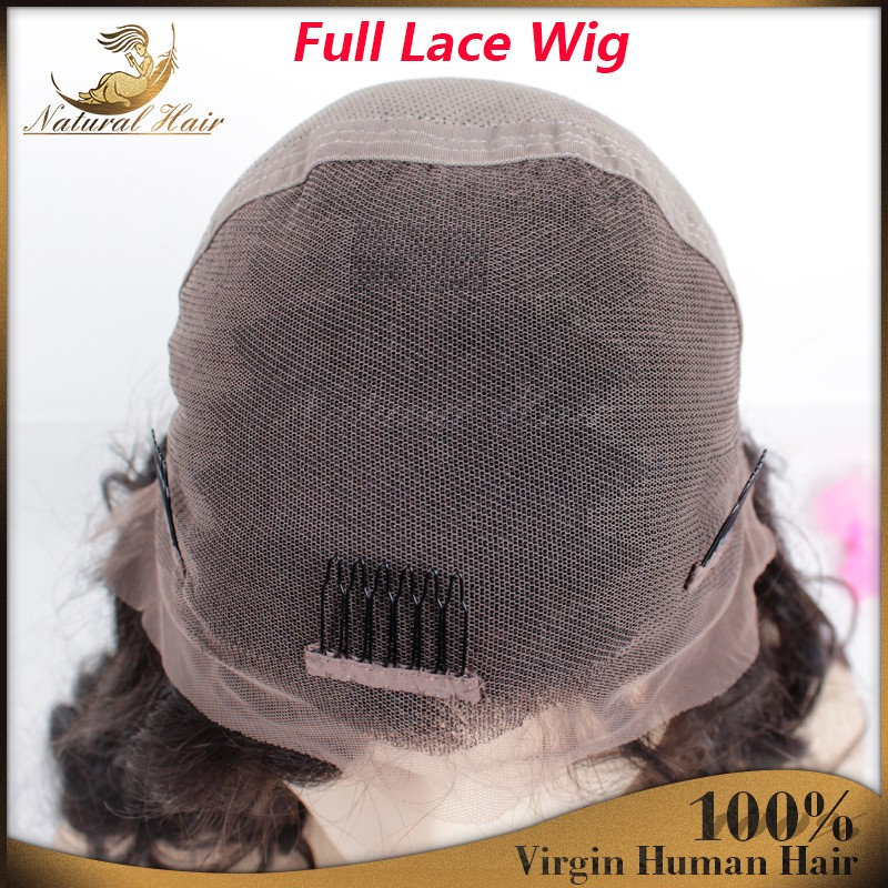 Super Wave high Density Virgin Indian Full Lace Wigs 100% Unprocessed Human Hair Wigs With Bangs For Black Women Lace Front Wig
