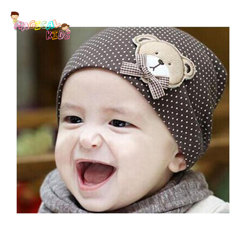 3pcs Kids Clothing Accessories Newborn Cute Hat Casual Baby Hat Autumn Baby Seasonal Tide Dots Cartoon Bear Cotton Infant Cap(China (Mainland))
