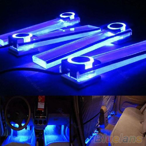 4 In 1 12V Blue Car Decorative Atmosphere Lamp Charge LED Interior Floor Decoration Lights 2KT6(China (Mainland))