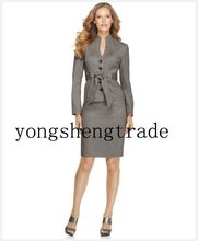 Women Suit  Belted Jacket Gray Women Suit  Design Women Business Suit 670(China (Mainland))
