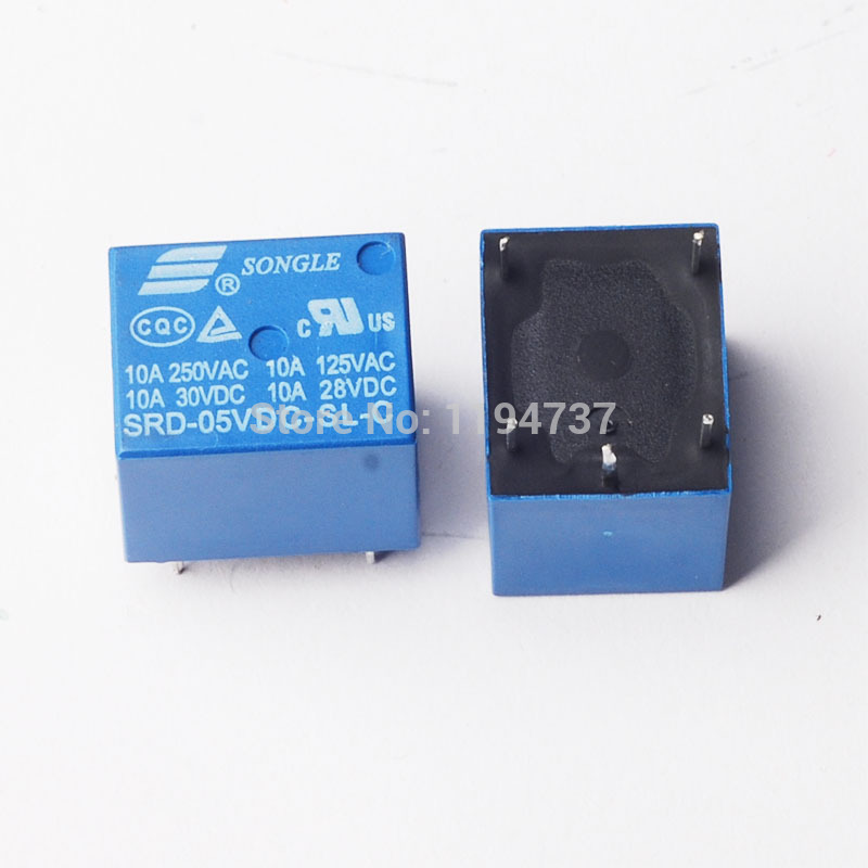 Free shipping 50pcs 5V DC Power Relay SRD-5VDC-SL-C PCB Type(China (Mainland))