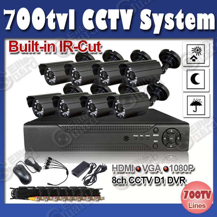 cctv system 8ch H.264 DVR and 8 cameras with ir cut 700tvl CCTV camera kit multiple language Russian Language waterproof  camera<br><br>Aliexpress