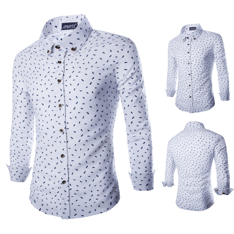 G&C Men's Clothing M~XXL, 2015 Men Mens Long Sleeve Shirts, British temperament fish bones printing Shirt - G & C store
