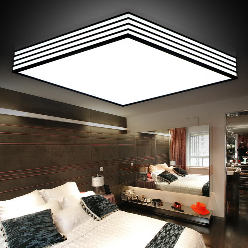 LED Modern Minimalist Acrylic Ceiling Light Black And White Strip Living Room