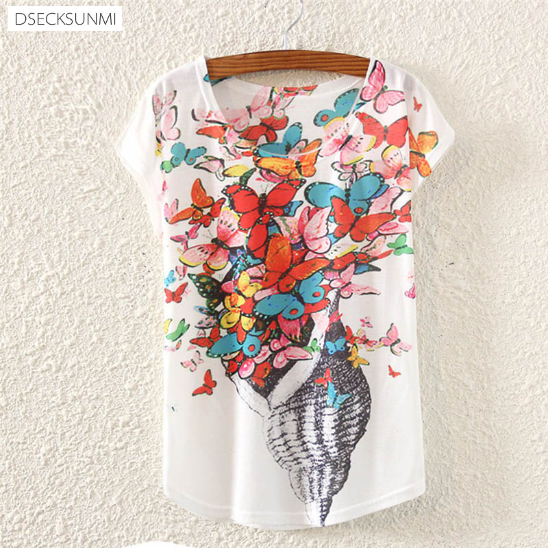2016 Brand New Polyester T-Shirt Women Short Sleeve t-shirts o-neck Causal loose Conch butterfly t shirt Summer top for women(China (Mainland))