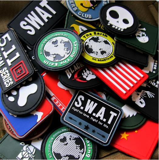 5pcs/lot Hot Selling Military PVC Velcro patches TAD the armbands Rubber armbands/SWAT Velcro chapter Sticker(China (Mainland))