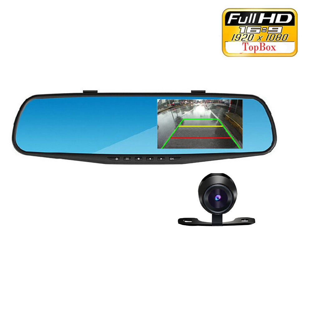 4.3 inch IPS Screen Car Rearview Mirror Full HD 1080P Car Camera Parking Night Vision Car DVR Dual Lens Video Recorder(China (Mainland))