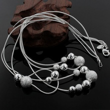 Fine jewelry charm silver plated bead necklace classic high quality fashion accessories priced at direct wholesale
