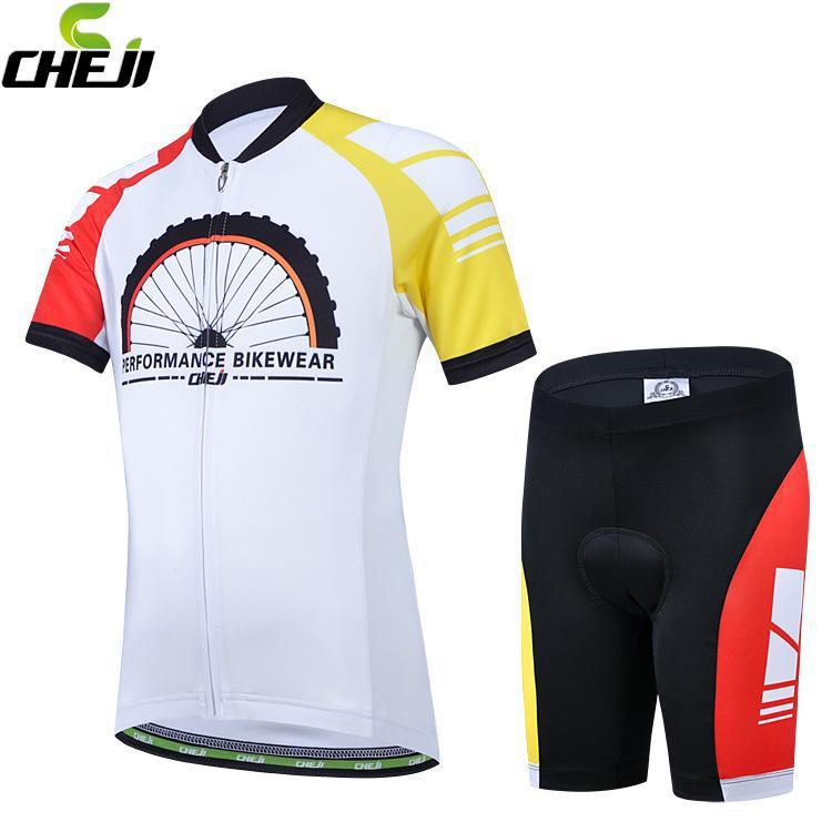 2016 Boys Cycling Jerseys Set CHEJI WHEEL Quick Dry Breathable Bike Bicycle Cool Sports Wear Sports Clothes Cycling Shorts Kit(China (Mainland))