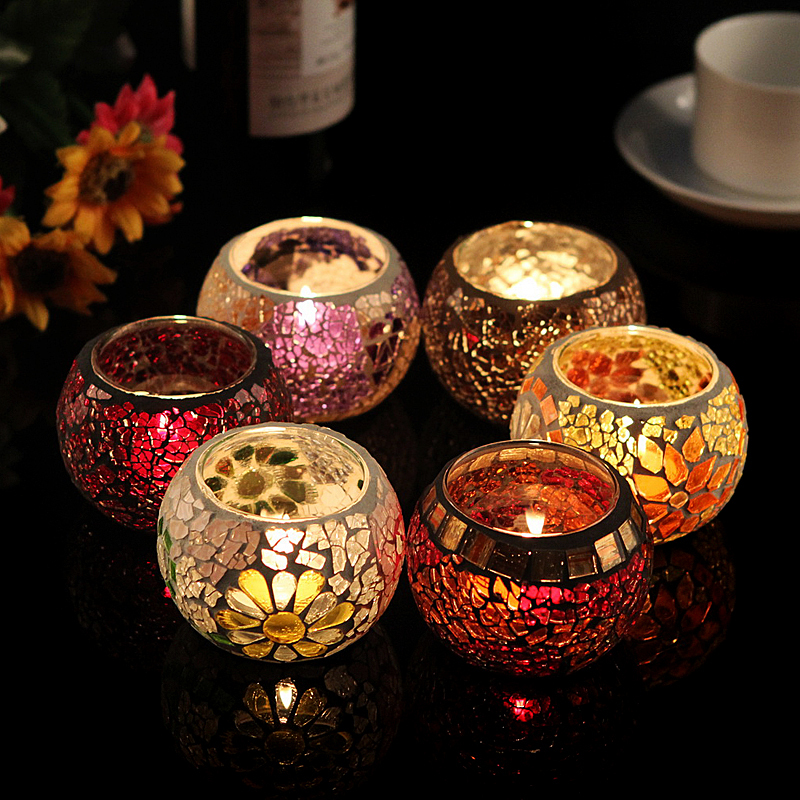 Buy hot sale glass mosaic lantern candle for Decoration candles